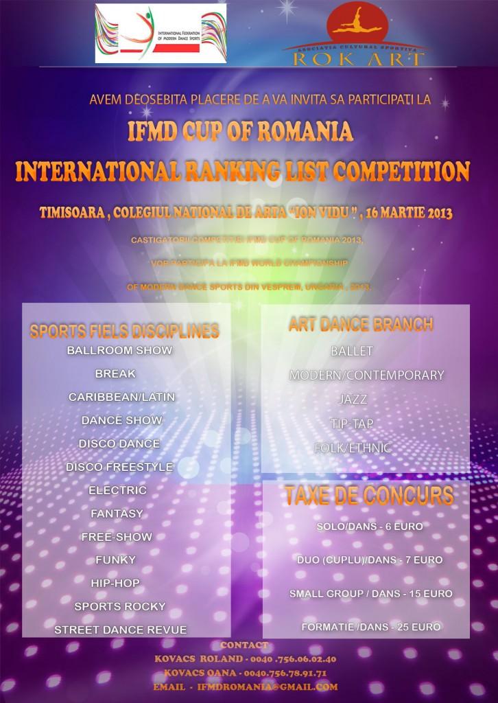 Afis concursul de dans IFMD Cup of Romania Timisoara