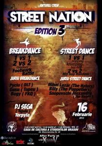 Afis Concursul de dans Street Nation Brasov